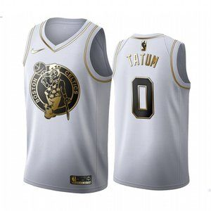 Celtics #0 Jayson Tatum White Golden Jersey